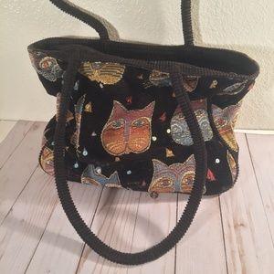 Laurel Burch cat corduroy velvet bling black purse